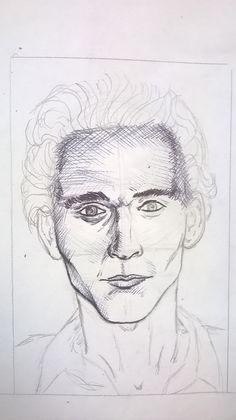Caricatura di Tom Hiddleston, matita e penna - Drawing of Tom Hiddleston, pencil and pen Work in progress