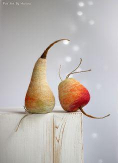Needle Felt Apple and Pear - Fall Decoration - Cottage Set of Apple and Pear - Needle Felted Cottage Set Of Apple and Pear - Christmas Decor by FeltArtByMariana on Etsy https://www.etsy.com/listing/463804768/needle-felt-apple-and-pear-fall