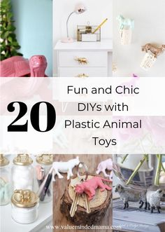 20 Fun and Chic DIYs with Plastic Animal Toys. With the coronavirus quarantine going on, now is a perfect time to complete those fun DIY projects you're always pinning! Here's a fun one to use all those plastic toy animals you've organized this week! Plastic Animal Crafts, Plastic Animals, Cool Diy Projects, Crafty Projects, Gold Diy, Animal Decor, Craft Sale, Old Toys, Fun Crafts