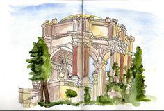 In Explore June Palace Of Fine Arts, Urban Sketching, Pisa, San Francisco, June, Tower, Explore, Travel, Places