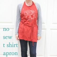 Make a no sew apron out of an old t-shirt.