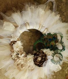 The Ophelia Wreath-  Victorian Lace and Vintage Style Shabby Chic Tutu Tulle Wreath- Neutrals and lace by pickypickypeacock on Etsy https://www.etsy.com/listing/129873600/the-ophelia-wreath-victorian-lace-and
