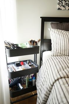 """The IKEA Home Tour Squad added an IKEA RÅSKOG utility cart to their teen bedroom makeover. It works great as a """"getting ready station"""" because of its mobility and storage!"""