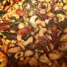 Spicy herby salty sweet mixed holiday nuts