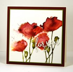 Wind blown poppies by Heather T - Cards and Paper Crafts at Splitcoaststampers - Watercolor with Distress stains