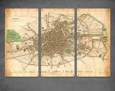 Vintage Map of Dublin Ireland METAL triptych by ArtHouseGraffiti Ireland Map, Dublin Ireland, Ireland Travel, Dublin Map, Instant Display, Irish Eyes, Custom Map, Vintage Maps, City Maps