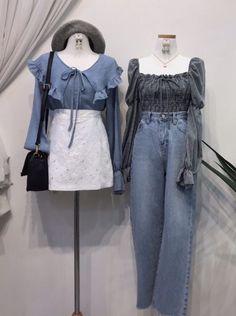 Kpop Fashion Outfits, Ulzzang Fashion, Korean Outfits, Cute Fashion, Look Fashion, Girl Fashion, Couple Outfits, Girly Outfits, Vintage Outfits