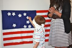 Pin the Star on the Flag game - perfect (and easy) for 4th of July fun with little ones!!