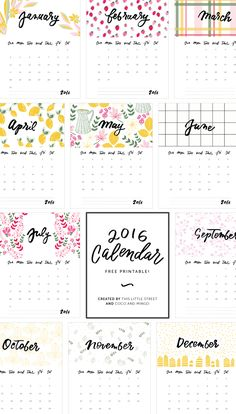 Free 2016 Calendar | This Little Street & Coco and Mingo