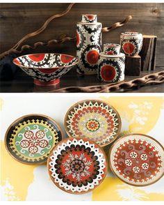 suzani inspired ceramics Ribbon Embroidery, Surface Pattern, Ikat, Needlepoint, Pattern Design, Pottery, Tapestry, Ceramics, Holiday Decor