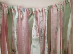 Shabby Chic Pink and Green Fabric Garland