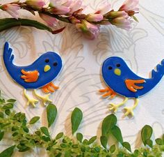These beautiful little birds have stud backs and make the perfect earrings! Make a pair yours at: http://www.pembaboutique.com/jewellery/silver/earings/silver-and-enamel-earring-curious-blue-bird