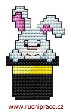 Rabbit in the hat, free cross stitch patterns and charts - www.free-cross-stitch.rucniprace.cz