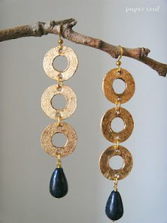 Feronia - handmade paper earrings with lapislazzuli beads