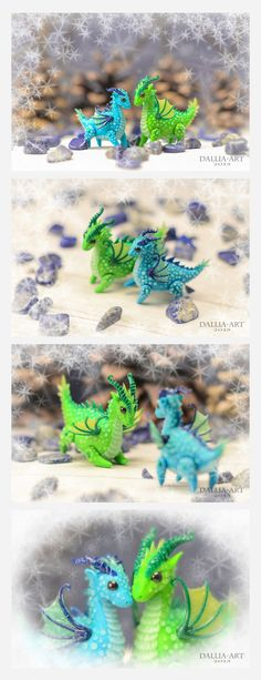 Ball-jointed dragons by dallia-art  Polymer clay. Height / length: green - 4 x 4.2 cm and turquoise - 3.5 x 3.7 cm.