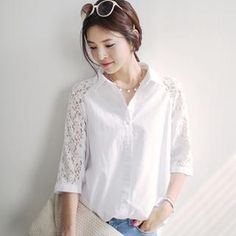 Raglan Lace 3/4-Sleeve Blouse from #YesStyle