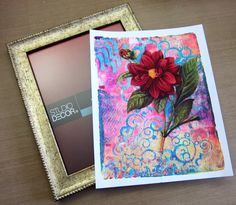 Reverse Decoupage with Gelli Plate Prints - Tutorial!!  Picture frames with glass are perfect for this process! This one is 8x10 inches. What a great way to use your Gelli® prints to create a fabulous piece of framed wall art!!  Printing with Gelli Arts®