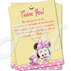 Minnie Mouse 1st Birthday Personalized Thank You Cards Baby
