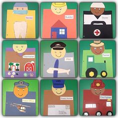 Preschool community helper book pages craft project: dentist, builder, doctor, veterinarian, police officer, farmer, post office worker, firefighter.