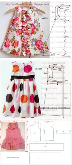Trendy Sewing Baby Clothes Girl How To Make Ideas Baby Girl Dress Patterns, Baby Clothes Patterns, Dresses Kids Girl, Dress Sewing Patterns, Frocks For Girls, Clothing Patterns, Baby Frock Pattern, Frock Patterns, Pattern Sewing