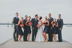 Modern Coral & Navy Wedding party // image by Maria DeForrest Photography
