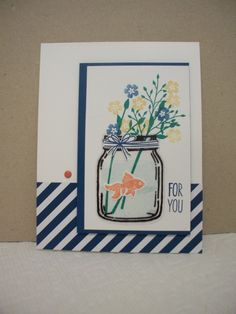 handmade Father's Day card: Jar of Love ... mason jar with goldfish swimming with the stems of wildflowers ... luv that the jar was stamped and cut out of clear window sheet ... Stampin' Up