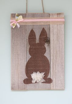 Easter Bunny Decoration on reclaimed wood on Etsy, $24.00