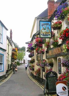 narrow and coloured street of Padstow, Cornwall, England