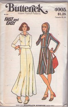 Butterick 4005 Vintage 70's Sewing Pattern GROOVY Fast & Easy Pullover Flared Bias Skirt Regular Dress, Maxi Gown, Inset Hooded Yoke, Hood #MOMSPatterns