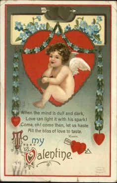 Valentine - Pensive Cherub - Ellen Clapsaddle c1910 Postcard picclick.com