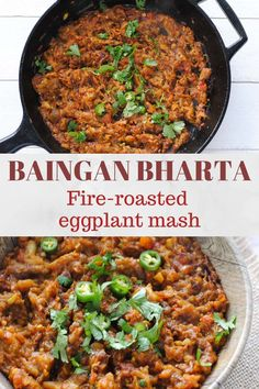 Easy Baingan Bharta (Fire Roasted Eggplant Mash) Baingan Bharta or Eggplant Bharta is an easy vegan and gluten-free Indian recipe. Fire-roasted and mashed eggplant is stir fried in onions, tomatoes, garlic and spices to make a very flavourful side dish. Indian Eggplant Recipes, Vegan Indian Recipes, Asian Recipes, Vegetarian Eggplant Recipes, Filipino Recipes, Eggplant Side Dishes, Indian Side Dishes, Curry Recipes, Veggie Recipes