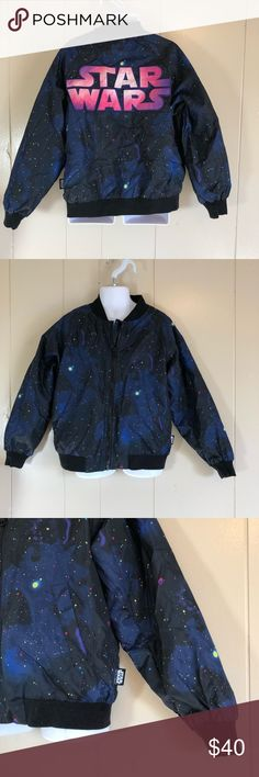 5-6 Disney store Star Wars bomber jacket galaxy Euc small child size 5-6 full zip two pockets outer space design with large Stars Wars embroidered on the back Disney Jackets & Coats