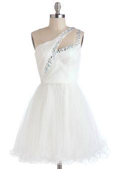 Swan Dance Dress - Mid-length, White, Solid, Rhinestones, Formal, Prom, Vintage Inspired, Ballerina / Tutu, One Shoulder, Wedding, Bride
