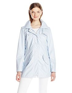 Jessica Simpson Womens Rain Slicker Fold Over ZipNeck Anorak with Hood Cloud Large ** You can get additional details at the image link.(This is an Amazon affiliate link and I receive a commission for the sales)