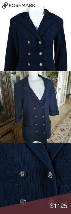 Authentic Chanel Blazer CC Logo lined in silk with chanel chain inside real show stopper  DETAILS  Type:  Blazers  Color:  navy  Size:  44 FR  Brand:  Chanel  Style/Collection:  Chanel Ribbed Crystal Button Blazer Jacket Coat  Style Tags:  Chanel Blazers CHANEL Jackets & Coats Blazers