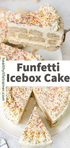 Funfetti icebox cake is a delicious and straightforward no-bake cake recipe made with three layers of butter cookies, whipped cream and topped with festive sprinkles. It is a perfect summer dessert and also wonderful for birthday parties. #Funfettiiceboxcake #Funfetticake #icebox cake Lunch Box Recipes, Best Dessert Recipes, Cake Recipes, Ice Cream Cupcakes, Cookies And Cream, Vanilla Cookies, Vanilla Cake, Summer Desserts, Fun Desserts