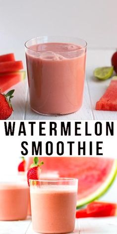 Easy Watermelon Smoothie Recipe – simple, light, sweet and refreshing drink, made in two minutes with just five simple ingredients. Perfect for summer! Watermelon Smoothie Recipes, Easy Smoothie Recipes, Easy Smoothies, Weight Loss Smoothies, Breakfast Smoothies, Mandarin Smoothie Recipes, Smoothies For Dinner, Lactose Free Smoothies, Vitamins