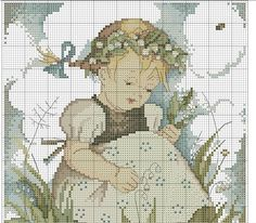 """Lily Of The Valley"" Hummel cross stitch  -  pattern 2A"