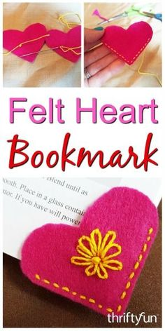 Making a Felt Heart Bookmark Felt page corner bookmarks are fun and easy to make for your own use or to give as gifts. This is a guide about making a felt heart bookmark. Felt Crafts Diy, Felt Diy, Sewing Crafts, Clay Crafts, Sewing Projects For Kids, Sewing For Kids, Crafts For Kids, Felt Projects, Diy Bookmarks