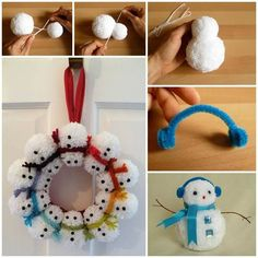 Snowman Pom Wreath Tutorial i would use ribbon instead of yarn for the scarves.