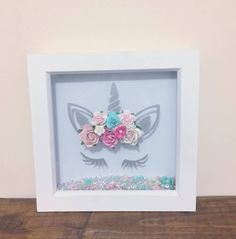 Excited to share the latest addition to my #etsy shop: Unicorn box frame with paper flower crown and floating embellishments