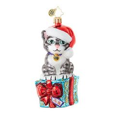 Christopher Radko Fabulous Feline Flair Animal Christmas Ornament