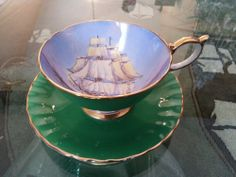 Vintage ANSLEY Tea Cup and Saucer w/ Boat Nautical Ship Ocean ENGLAND MARITIME