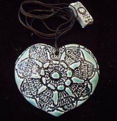 The little GALLERY of fine ARTS. Heart turquiose pendant Pottery, Pendant Necklace, Ceramics, Fine Art, Gallery, Heart, Artwork, Jewelry, Hall Pottery