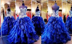 Look and feel like a princess in this stunning navy ball gown! Its strapless bodice is completely beaded with sparkling crystals and features a sweetheart neckline. The lace-up corset back makes it easy for up or downsizing. Absolutely fabulous and ONLY at Rsvp Prom and Pageant, Atlanta, GA