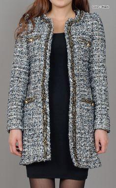 AnnaKastle New Women's Metallic Loop Patch Ribbon Trim Tweed Coat Size XS S M in Multi Black