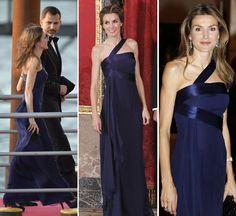 a princesa de Asturias lució el mismo traje que en el 60 cumpleaños de Carlos de Inglaterra en 2008 y en la cena de Gala para recibir al Emir de Qatar en 2011, un vestido buckingham en seda y muselina azul noche, con la espalda descubierta, del diseñador español Felipe Varela.
