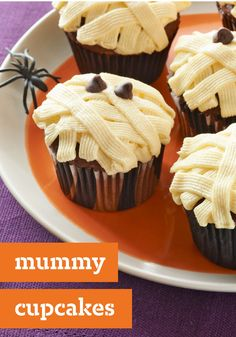 Mummy Cupcakes – Their bandages are made from pudding mix and their eyes are chocolate chips. But that's only part of the reason this Halloween dessert recipe is so yummy!
