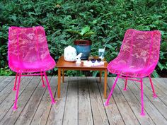 How to Paint Metal Chairs: Optional: Spray the chairs with a final protective coat of spray lacquer for a shiny finish. From DIYnetwork.com