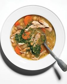 Chicken and Chickpea Soup - Cumin, coriander, and cinnamon give this soup a Moroccan flavor.